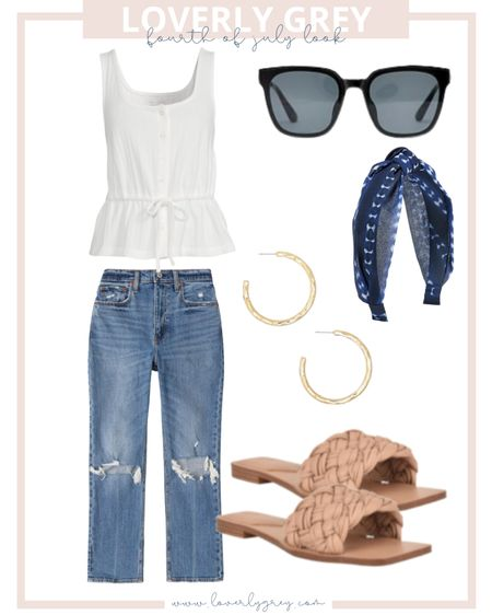 Loverly grey Fourth of July look🇺🇸 pair mom jeans with a white top and knit headband!   #LTKunder50 #LTKstyletip #LTKunder100