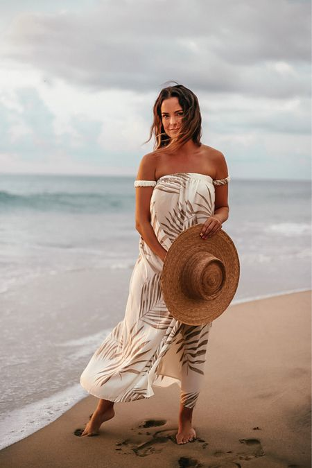 this flowy off the shoulder sundress in earthy-colored palm can be worn as a beach coverup and a dress!  It runs TTS, I'm in a small   #LTKstyletip #LTKtravel