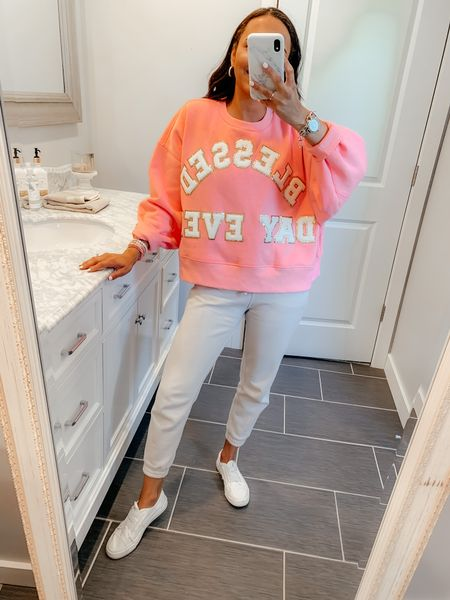"""CUSTOM SWEATSHIRT for my birthday! Mine says Blessed Day Ever!! 💕💕 I am wearing the Neon Pink Sweatshirt in a size small with the White Glam Letters! Sizing is over sized, cropped fit and sweatshirt is wide (to fit all the letters)! You could also customize one that says """"Birthday Mode"""" for your birthday fun!! Screenshot this pic to get shoppable product details with the @liketoknow.it shopping app: http://liketk.it/3hQbg #liketkit #LTKunder100"""