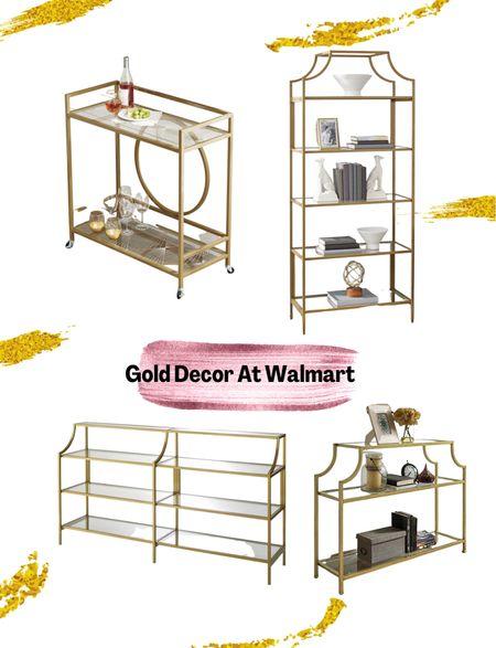 Gold decor. Walmart finds. Home decor. Bar cart. Coffee table   #LTKhome #LTKfamily #LTKstyletip