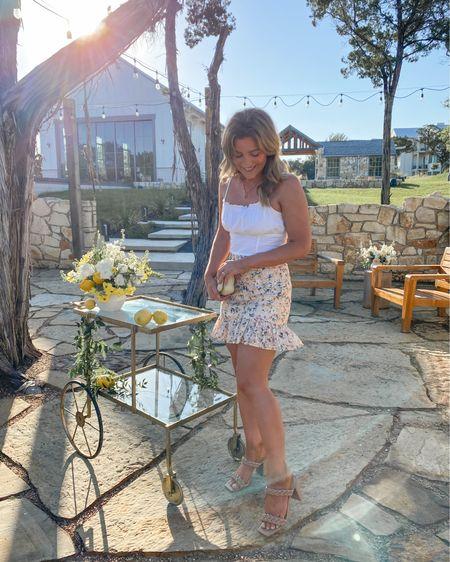 Prettiest floral skirt! I sized up. My top is H&M but linked similar. http://liketk.it/3hpNF @liketoknow.it #liketkit #LTKunder50 #LTKsalealert #LTKshoecrush
