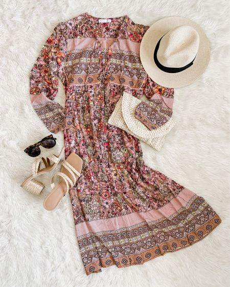 """Another Amazon win with this long boho midi dress, perfect for summer! 💕🙌🏻 $28 ships prime, fits tts (I wear a small). Lots of colors! It's going to be on deal for Prime Day, too (that's Amazon speak for """"on sale"""" 😆). I'll link in Stories if you wanna shop now, why not?? http://liketk.it/3hPR9 #liketkit @liketoknow.it #LTKunder50 #LTKtravel #LTKswim #founditonamazon #amazonfashion"""