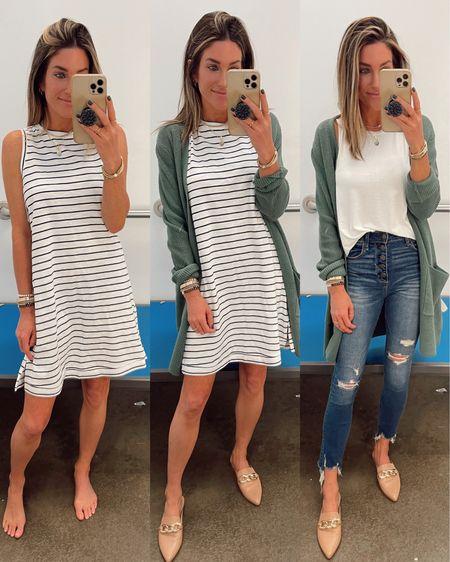 Xs in striped tank dress.  Xs in cardigan!  Code JEN15 on mules.  Teacher outift idea.    http://liketk.it/3jL08 @liketoknow.it #liketkit #LTKstyletip #LTKworkwear #LTKshoecrush