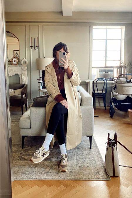 Sneakers, maternity leggings, trench coat, zip up sweater - fall casual outfit, fall maternity    #LTKstyletip #LTKshoecrush #LTKSeasonal