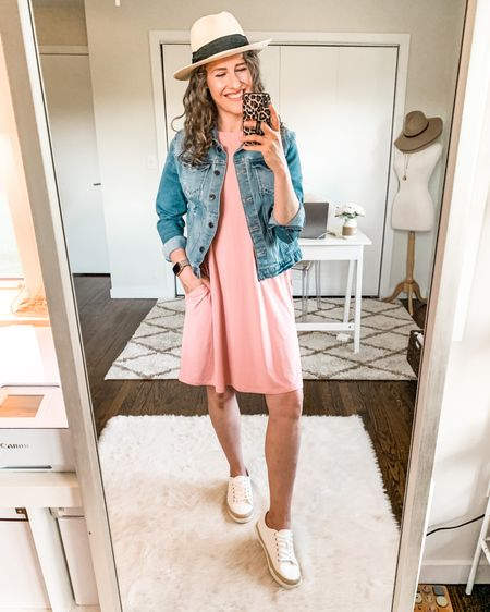 My favorite $10 sleeveless knit dress with a denim jacket and espadrille sneakers, all Walmart! Fit tts, wearing small in the dress and medium in the jacket. http://liketk.it/3hBjm #liketkit @liketoknow.it #LTKunder50 #LTKstyletip #budgetstyle #budgetbabe