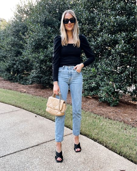 Tonight's outfit for dinner on our anniversary trip! Love these heeled sandals (tts). Wearing a small in the puff sleeve top and Levi's jeans are tts (26)   #LTKstyletip #LTKunder100 #LTKshoecrush