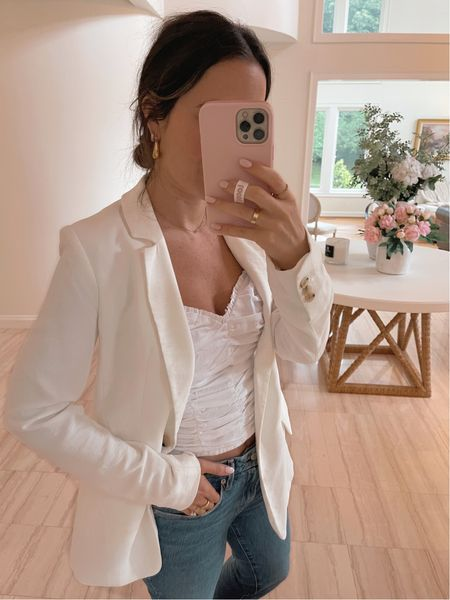 How to style a white blazer in the summer for date night! Love this ruched cami, I've worn it countless times already!   #LTKunder50 #LTKstyletip #LTKSeasonal