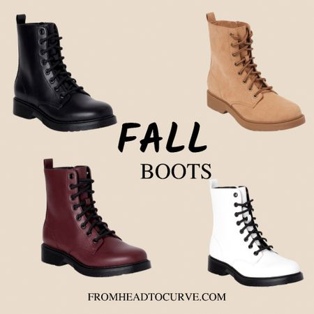 Fall boots for $19, lug boots, combat boots, wide width boots, Walmart boots, booties, Walmart finds, affordable fall boots   #LTKshoecrush
