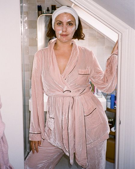 the chicest pyjama set ive ever seen. It's a super soft velvet and comes in a variety of shades - to be honest I would wear this to more than just bed!