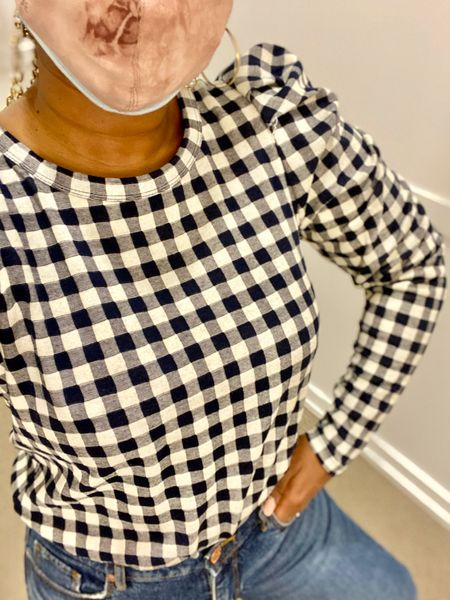 This spring top has a classic print perfect for spring casual outfit or a Zoom meeting currently on sale at Loft up to 70% #loftimist Gingham Pleated Puff Sleeve Top  #LTKstyletip #LTKsalealert