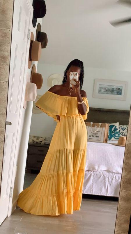 Summer maxi dresses  Yellow, bump friendly, off shoulder    #LTKsalealert #LTKSeasonal #LTKunder50