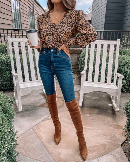 One of my favorite fall looks! 🍂 Leopard collar blouse, leopard top, Good American denim, skinny jeans, Steve Madden boots, over the knee boots, suede boots, pendant necklace, cmcoving, Caitlin Covington, fall fashion, fall outfit, fall boots  #LTKunder100 #LTKSeasonal #LTKshoecrush