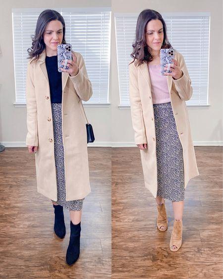 Ways to wear a Dad camel coat (xs) // style with a skirt http://liketk.it/38FZA  #liketkit @liketoknow.it #LTKstyletip
