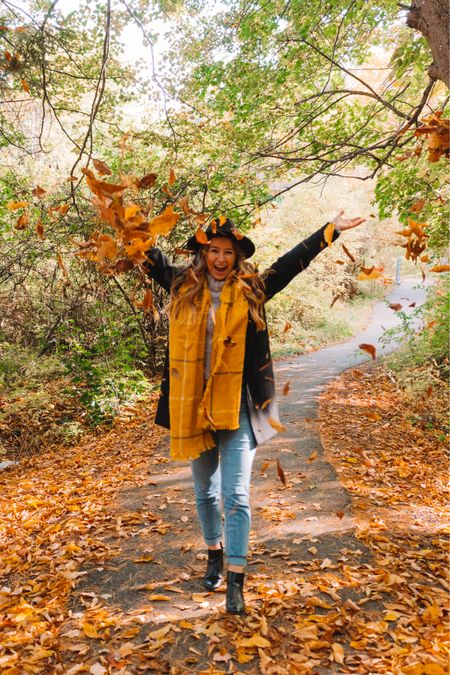 Fall time outfit! Chelsea boots Black old navy coat Black wide brim hat Light wash jeans Gray turtleneck Yellow scarf  #LTKunder50 #LTKshoecrush #LTKSeasonal
