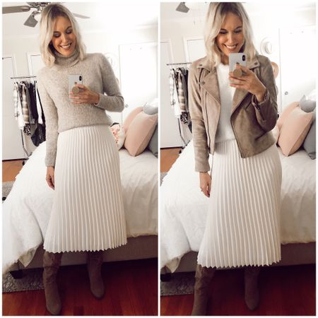 BlankNYC suede moto jacket on sale 33% off (now $125 down from $188 regular price) Runs TTS. Target white pleated skirt Target knee high faux suede boots  http://liketk.it/2I463 @liketoknow.it #liketkit #LTKsalealert #LTKshoecrush #LTKstyletip winter outfits, holiday outfits, neutrals, white skirt, tan jacket