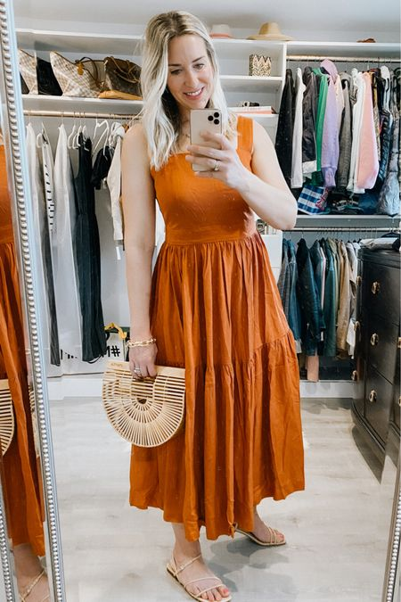 Square neck dress with tiered style. Linen look, rust/orange color. Love pairing this with natural accessories. This dress is currently 50% off and available in petites. Size down if between sizes. Code:  cybersummer    Wedding guest dress, dress, casual summer dress, Ann Taylor, sale dress.    #LTKunder100 #LTKsalealert #LTKstyletip #LTKunder100 #LTKworkwear