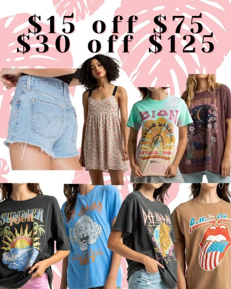 $15 off $75 $30 off $125 Code SAVEMORE  http://liketk.it/3jQMq #liketkit @liketoknow.it #LTKunder50 #LTKsalealert #LTKstyletip graphic tees Levi's mom shorts summer dress