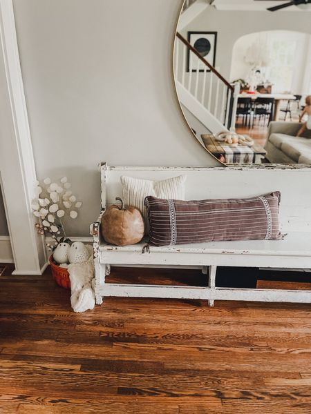 Fall home decor coffee table dining room decorations styled styling style velvet pumpkins neutral greenery stems natural modern minimal  #LTKhome #LTKHoliday #LTKSeasonal