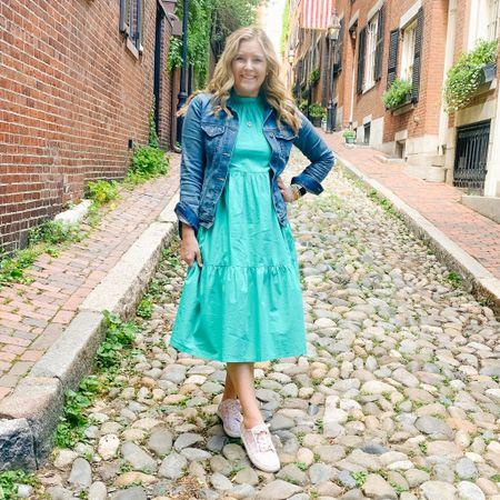 Forever loving a fun dress + sneaker combo! Dressed comfortably shoe wise for a beautiful evening out in Boston. ✨ Shop my #ootd here: http://liketk.it/3ikRT #liketkit @liketoknow.it #acornstreet