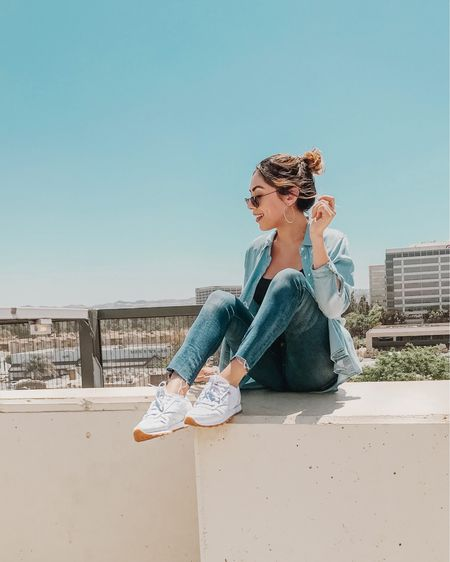 Today is the best Monday I've had in a really long time! Most of my to-do list done and I got to break in my new sneakers!!! Okay as you may have noticed I've been talking about white sneakers for months but these babies just took the cake. I'm feeling totally 90s vibe with my denim on denim + @reebok but I'm living for it! Linked my exact outfit for you on @liketoknow.it because they're truly some of my 3 favorite pieces and they're all under $100! 🦋 #liketkit http://liketk.it/2wWZV #LTKunder100 #LTKunder50 #LTKstyletip
