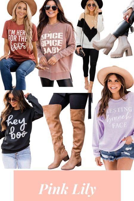 Pink Lily sweaters and sweatshirts + boots   #LTKstyletip #LTKunder50 #LTKSale