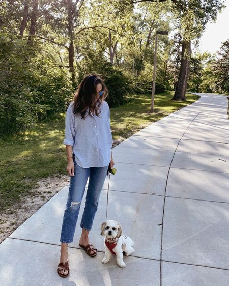 Relaxed button down in xs. Jeans loft but haven't see these online. Linked the exact style but without rips and one with more distressing.   http://liketk.it/3iR43 #liketkit @liketoknow.it #LTKsalealert #LTKstyletip