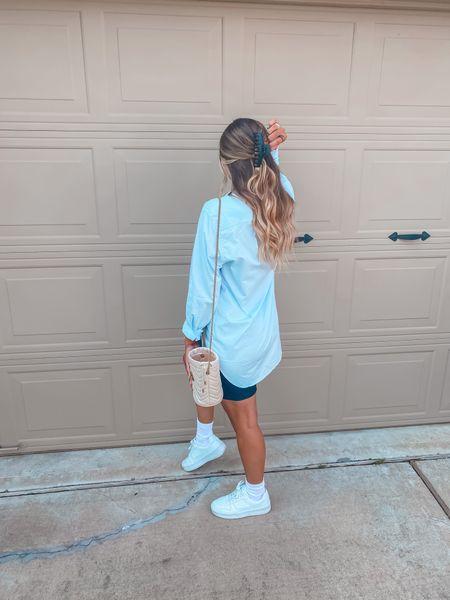 Claw clip hairstyle Casual look Oversized button down Biker shorts   #LTKsalealert #LTKstyletip #LTKunder50