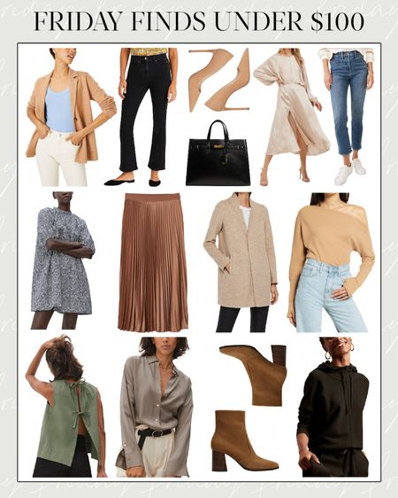 Fall Clothes, Fall Fashion, Cheap Fall Clothes, Fall Coat, Black Tote, Pleated Skirt, Fall Skirt  🍂 Today's Friday Finds Under $100! If you're new, every Friday I roundup my favorite seasonal picks on a budget.   👉🏻 Details and codes: - Sweater blazer is 40% off with code ANNVIP - Everlane silk shirt is $85 with code JOELLE15 - Hoodie is 50% off with code BRFAMILY  ✨ Follow along on Instagram (@natalie.yerger) for more affordable fall clothes, daily looks, and fall fashion style guides!  #falltrends #fallclothes2021 #h&mfallclothes #falloutfitsamazon  #fallfashion2021 #fallmaxidress #brownbooties #pleatedfallskirt