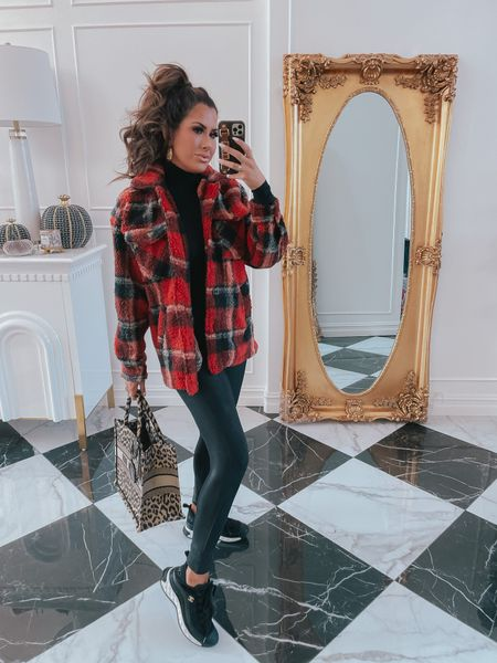 Red Dress Try On Haul, Christian Dior Book Tote, Leopard Tote Bag, Fall Outfit Try On Haul, Fall Outfits, Affordable Fall Outfits, Shacket, Red Plaid Shacket, Faux Leather Leggings, Black Sneakers, Black Turtleneck Bodysuit, Black Bodysuit, Emily Ann Gemma http://liketk.it/3qmYr   #LTKunder100 #LTKstyletip
