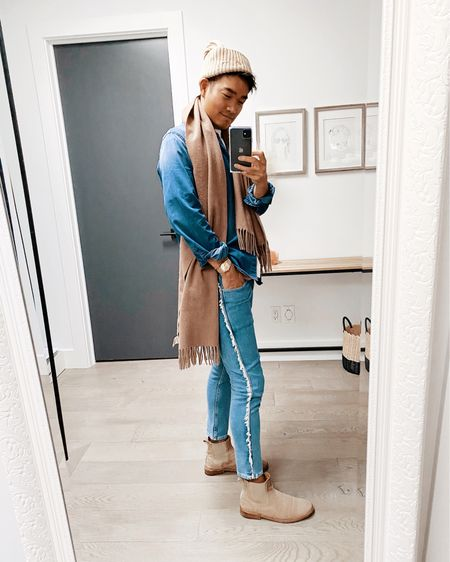 All about the fringe! And denim... and chunky knit hats, because there's a polar vortex coming 🥶❄️ ___  http://liketk.it/36m0c #liketkit @liketoknow.it #StayHomeWithLTK #LTKmens #canadiantuxedo #denimondenim #fringe #winterstyle
