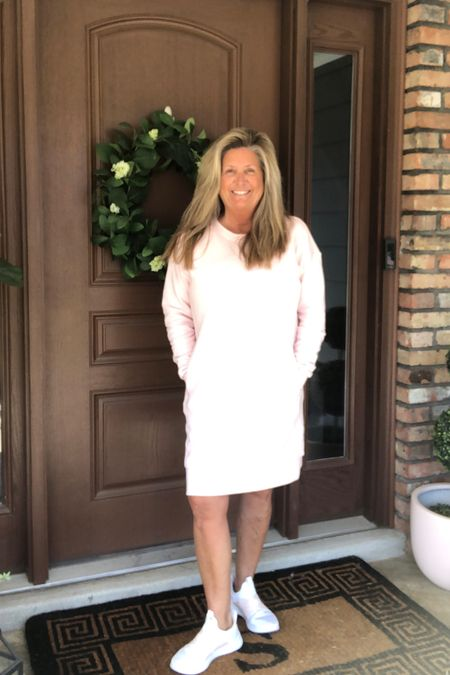 """Yay it's Friday!  These mild temps are creeping their way in and I'm not complaining one bit.  Spring is 22 days away! Ok, so I picked up this sweatshirt dress in my fav color """"ballet pink"""" and I am so impressed with the style and fit!  O and it has pockets 💓 Perfect dress to take you into spring!   Shop my daily looks by following me on the LIKEtoKNOW.it shopping app http://liketk.it/39aSM #liketkit @liketoknow.it"""
