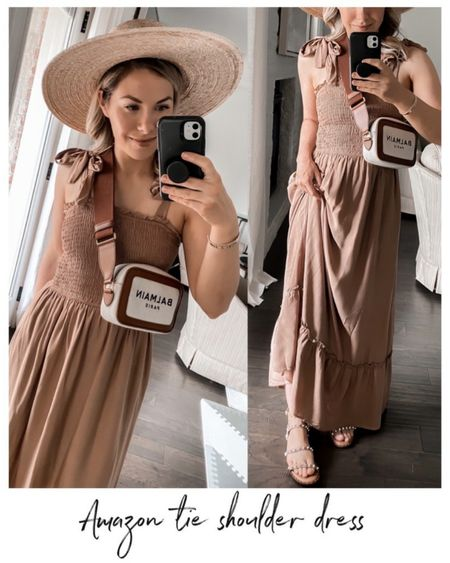 Brown tie shoulder dress, headband, Amazon dress, Amazon fashion, Amazon finds, dress, nap dress, summer dress      http://liketk.it/3kFTx @liketoknow.it #liketkit  #LTKunder50 #LTKshoecrush #LTKstyletip