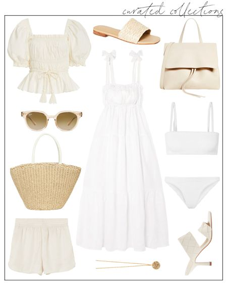 Summer whites and creams for your next beach vacation. I just ordered this Faithfull the Brand dress! Also love these pull-on H&M shorts—they're so affordable and could work with a casual look or as simple pool cover-ups with a button-up short. #summerdress #faithfullthebrand #ullajohnson #summeroutfitideas