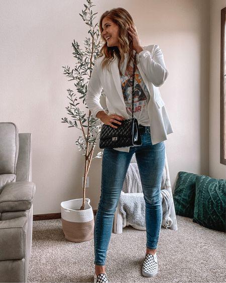 White blazer / def leopard tee / tall jeans / vans checkered shoes / black quilted bag / amazon outfits / amazon fashion   #LTKunder50 #LTKunder100 #LTKstyletip