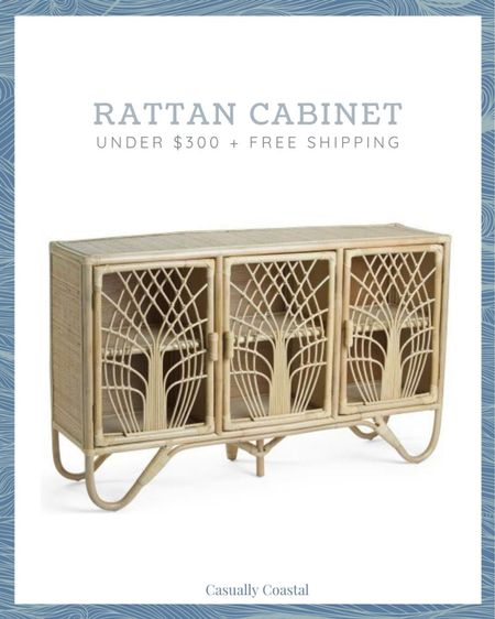 This rattan cabinet is just $300, and includes free shipping with code SHIP89!!Would make a great bar cabinet, entryway table, or dining room buffet!  summer decor, summer decorations, summer home decorations, coastal decor, beach house decor, beach decor, beachy decor, beach style, coastal home, coastal home decor, coastal interiors, coastal family room, living room decor, coastal decorating, coastal house decor, home accessories decor, coastal accessories, living room decor, neutral decor, neutral home, entryway table, console table, serena & lily dupe, serena and lily dupe,  TJ Maxx finds, TJ Maxx home, bar cabinet, rattan cabinet, entryway cabinet, affordable furniture, rattan furniture, woven furniture, texture, rattan table, liquor cabinet, three door cabinet  #LTKhome #LTKfamily