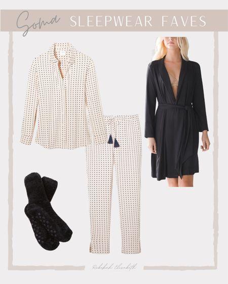 Soma sleepwear favorites | long sleeve pajama set • cozy short black robe • fuzzy socks | #rebekahelizstyle #cozyoutfit #comfyoutfit   #LTKunder50 #LTKcurves #LTKstyletip