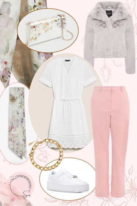 Spring but in the U.K.! Who else is still wearing fur coats? x  Spring - floral - pink chinos - white dress - broderie dress - floral bag - floral scarf - grey coat - anklet - white trainers - Nike Air Force 1 - Nike Air Force ones