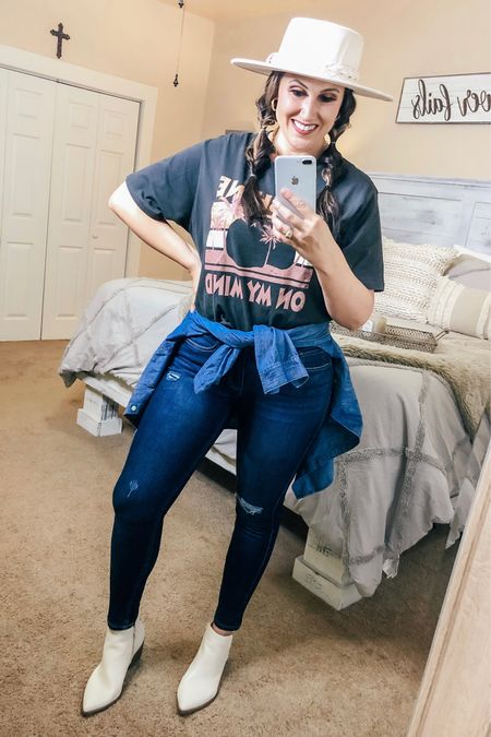Fall outfit inspiration! 🍂   #falloutfits #fallvibes #booties #hat #fallstyle #fall #outfitinspo #walmart #walmartfinds #fashion #fallfashion #midsize #curvy #jeans #graphictee   #LTKstyletip #LTKcurves #LTKSeasonal