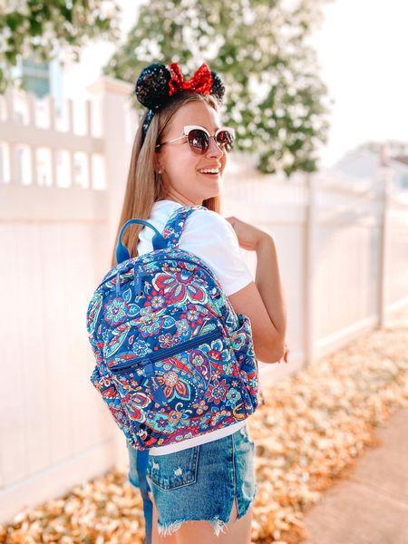 Disney x Vera Bradley bag. Vera Bradley bag. Backpack. Small backpack. Mini backpack. Target white vneck tshirt. Abercrombie curve love shorts. Denim shorts.   #LTKunder100 #LTKitbag