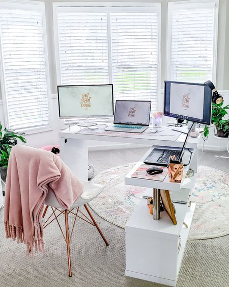 When your new normal just means cramming as many screens as you can on a surface. 🤣 Linked all the home office essentials that are helping me work from home during COVID-19. #liketkit @liketoknow.it #homedecor #ltkhome #homeoffice #workingfromhome http://liketk.it/2MhYx