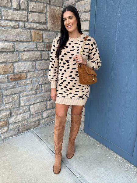 Leopard sweater dress from Amazon fashion and over the knee boots   #LTKunder50 #LTKSeasonal