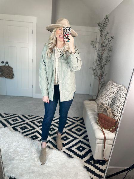 Quilted jacket - medium  Striped henley- medium  Spanx jeans- medium, size up     #LTKsalealert #LTKSale #LTKunder100