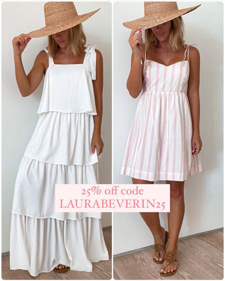 Summer dresses. White ruffle dress & pink stripe dress size small.    http://liketk.it/3ijYT #liketkit @liketoknow.it #LTKunder50 #LTKsalealert #LTKunder100 #laurabeverlin