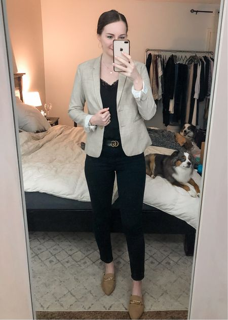 Business casual, realtor outfit, real estate agent, blazer with jeans, tan mules, light tan blazer  #LTKworkwear