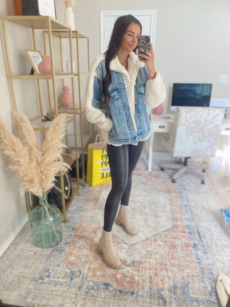 M in jacket but need S, S bottoms   Ankle booties, spanx leggings, nsale, Nordstrom sale, denim jacket, Sherpa jacket   #LTKitbag #LTKkids