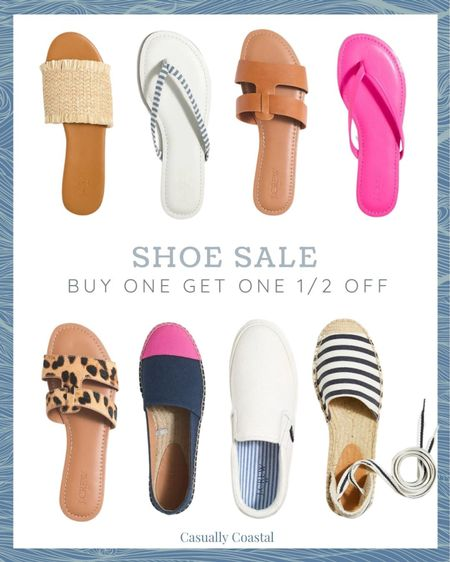 """Buy one get one 50% off on all J.Crew Factory shoes (women's and men's!) with code """"HALF OFF."""" Great time to stock up on all summer footwear!   @liketoknow.it #liketkit #LTKsalealert #LTKshoecrush #LTKunder50 http://liketk.it/3fsAR  jcrew factory, j.crew, beach vacation outfits, summer fashion, resort style, resort wear, beach style, slide sandals, dressy sandals flat, sandals for wedding, nordstrom sandals, braided sandals, pink sandals, leather braided sandals, flat leather sandals, woven sandals, raffia sandals, bright pink sandals, shoe sale, sandal sale, lace-up espadrilles, comfortable shoes, comfortable flip flops, comfortable sandals, comfortable sandals with strap, leather sandals flat, sandals flat, sandals, leather thongs, leather thong sandals, brown leather sandals, brown leather sandals flats, padded sandals, leather flip flops, slip-on espadrilles, slip-on sneakers, white canvas sneakers, white slip on sneakers, leopard slide sandals, calf hair sandals, calf hair slides, slides, leopard print, leopard sandals, leopard slides, tan slides"""