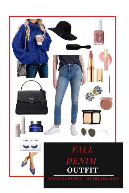 Fall Denim Outfit   #falloutfit #chunkysweater #currentelliott #katespade #amazonfind #sheinfind  #LTKsalealert #LTKitbag #LTKshoecrush