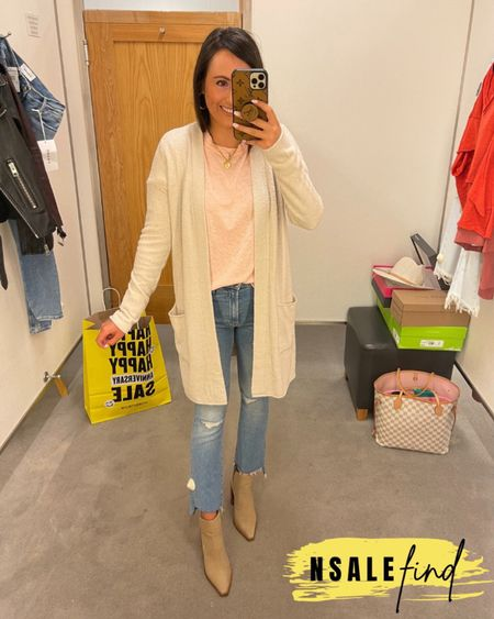 Nordstrom anniversary sale outfit - mother jeans sized up to a 26, they are tiny but do have stretch. Tee is true to size. Cardigan I sized up to a small for room in the sleeves. Booties are true to size but you probably need to size up if you have a wider foot. I have a narrow foot.  #nordstromanniversarysale #nordstrom #nordstromanniversarysale2021 #nsale #nsale2021 #anniversarysale #nordstromsale Nordstrom anniversary sale Nordstrom anniversary sale 2021 nsale nsale2021        #LTKshoecrush #LTKunder100 #LTKsalealert