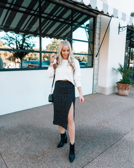 Love pairing a midi skirt with a chunky sweater 😍 linking similar items here! http://liketk.it/34OP5 #liketkit @liketoknow.it #LTKNewYear #LTKstyletip #LTKunder100