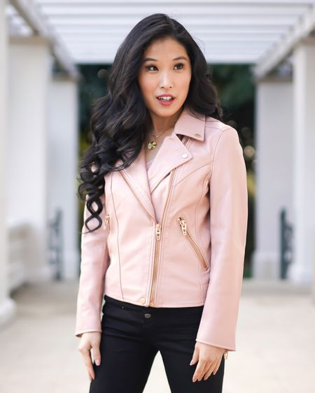 Pink Moto jacket! Feminine and fierce! This pink Moto jacket adds so much style to any outfit! Pair with your favorite black button up jeans and jewelry! I have an Uncommon James gold medallion necklace on! http://liketk.it/377Za #liketkit @liketoknow.it #pinkmotojacket #motojacket